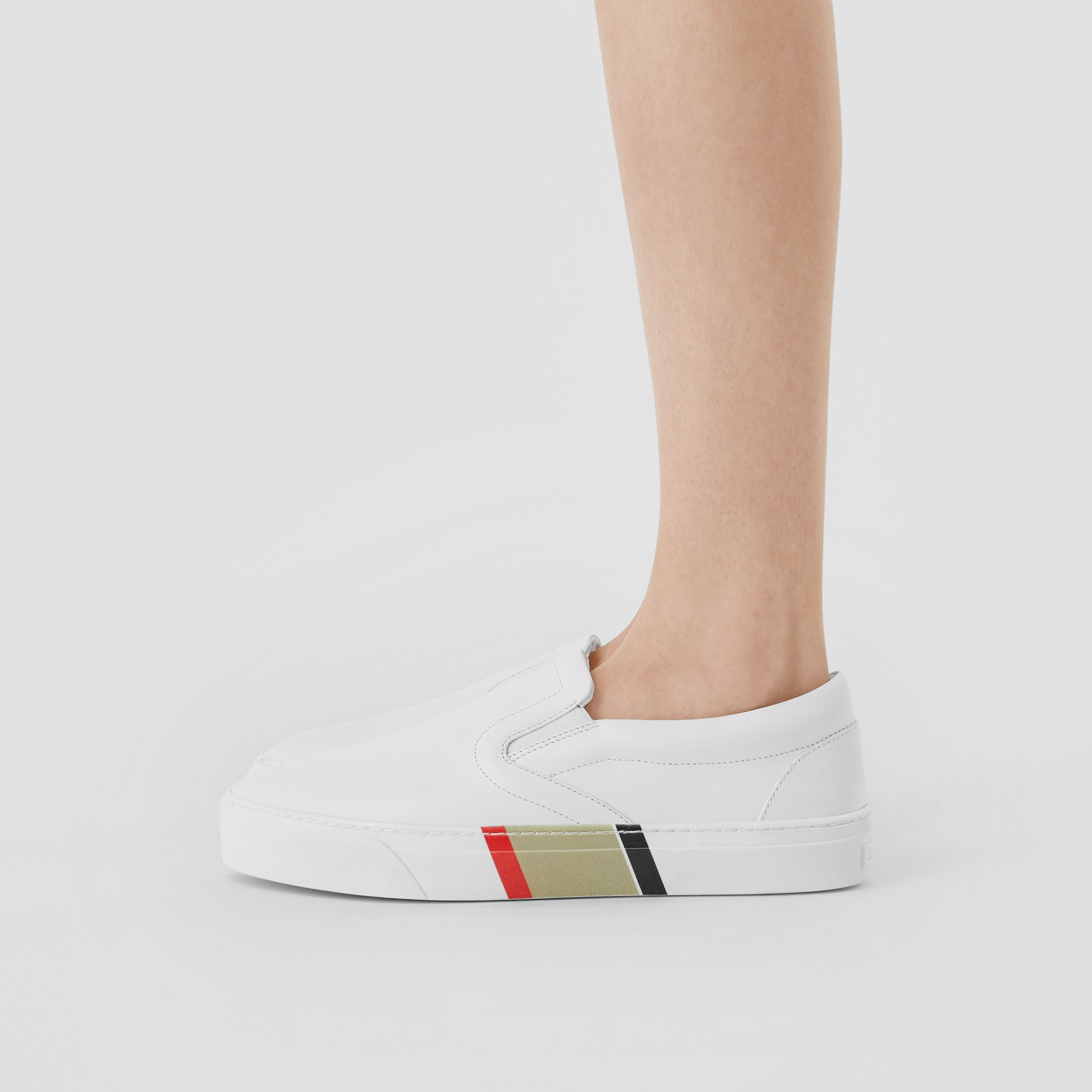 Bio-based Sole Leather Slip-on Sneakers in Optic White - Women | Burberry Hong Kong S.A.R. - 3