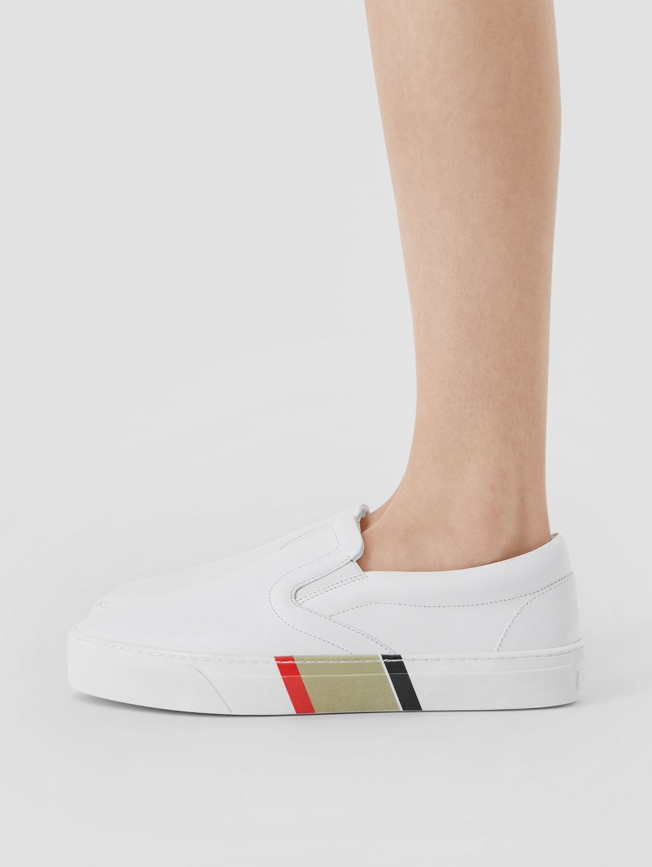 Stripe Print Leather Slip-on Sneakers in Optic White