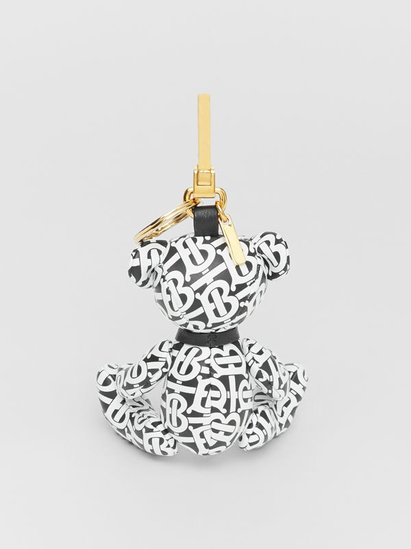 Thomas Bear Charm in Monogram Print Leather in Black/white - Women | Burberry - cell image 3