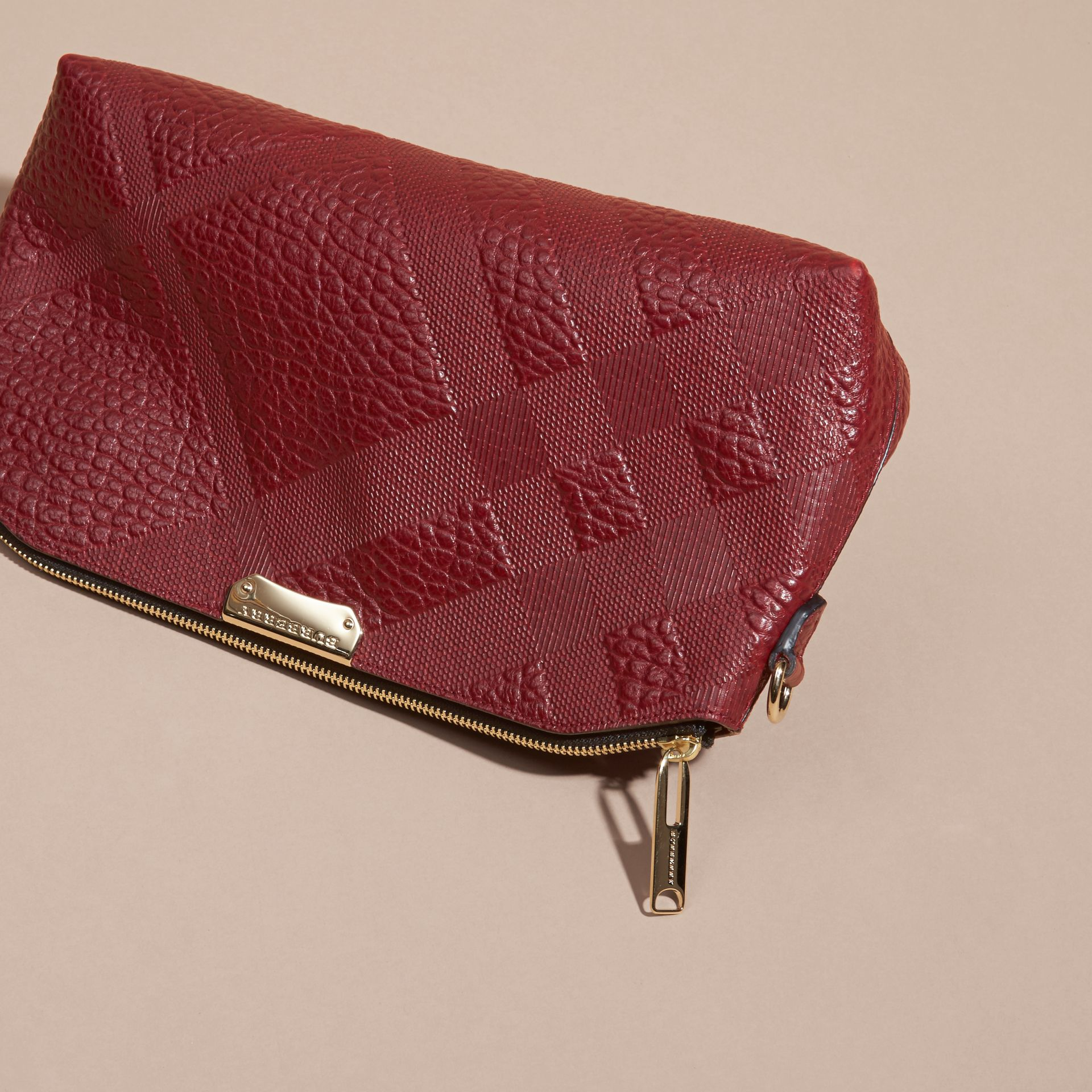 Deep red Small Embossed Check Leather Clutch Bag Deep Red - gallery image 8