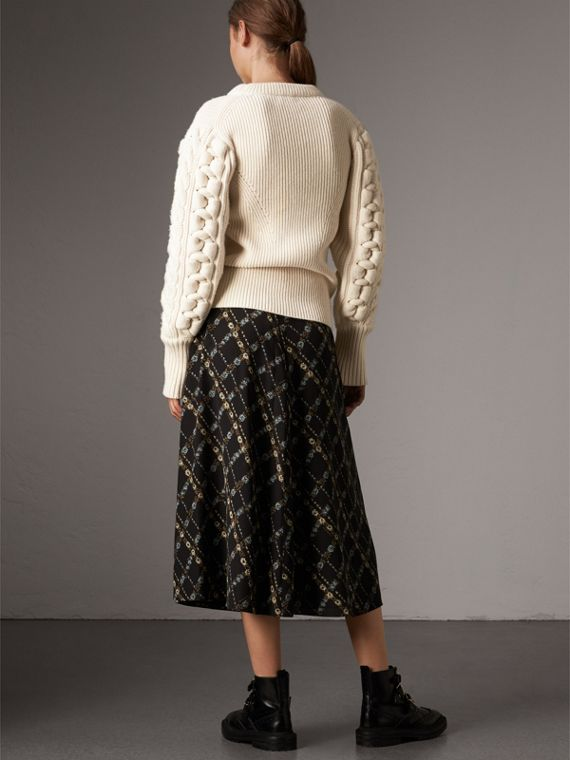 Zip Detail Floral Check Silk Skirt in Black - Women | Burberry - cell image 2