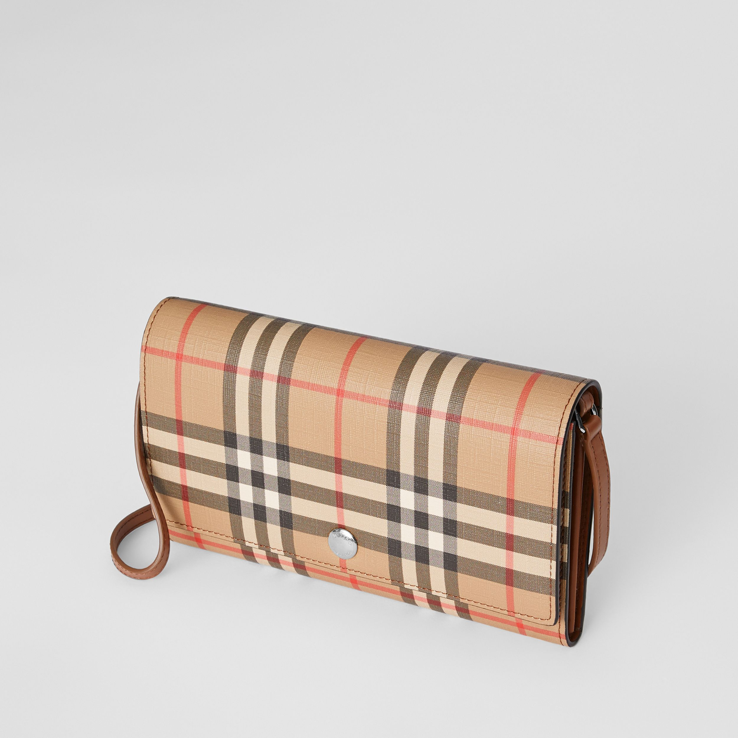 Vintage Check E-canvas Wallet with Detachable Strap in Malt Brown - Women | Burberry - 4