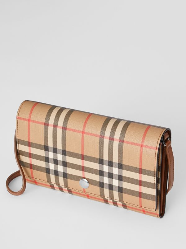 Vintage Check E-canvas Wallet with Detachable Strap in Malt Brown - Women | Burberry - cell image 3