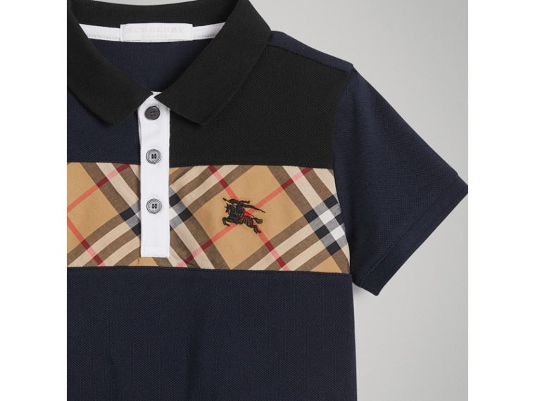 Vintage Check Panel Cotton Polo Shirt in Navy - Boy | Burberry United Kingdom - cell image 4