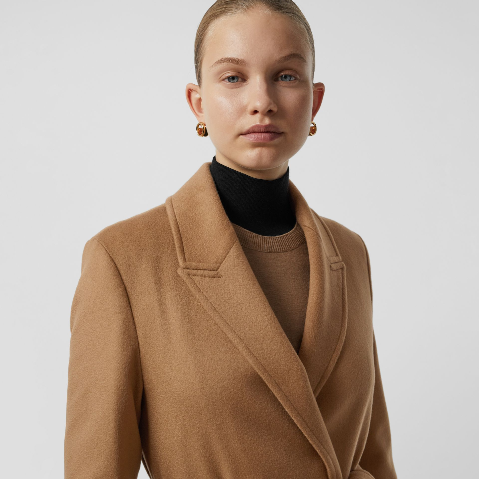 Peak Lapel Cashmere Wrap Coat in Dark Sand - Women | Burberry - gallery image 1