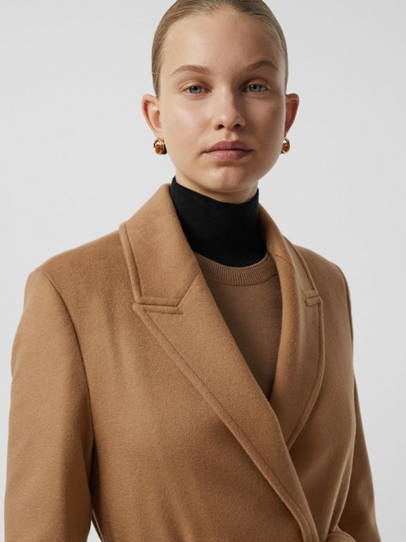Peak Lapel Cashmere Wrap Coat in Dark Sand - Women | Burberry Canada - cell image 1