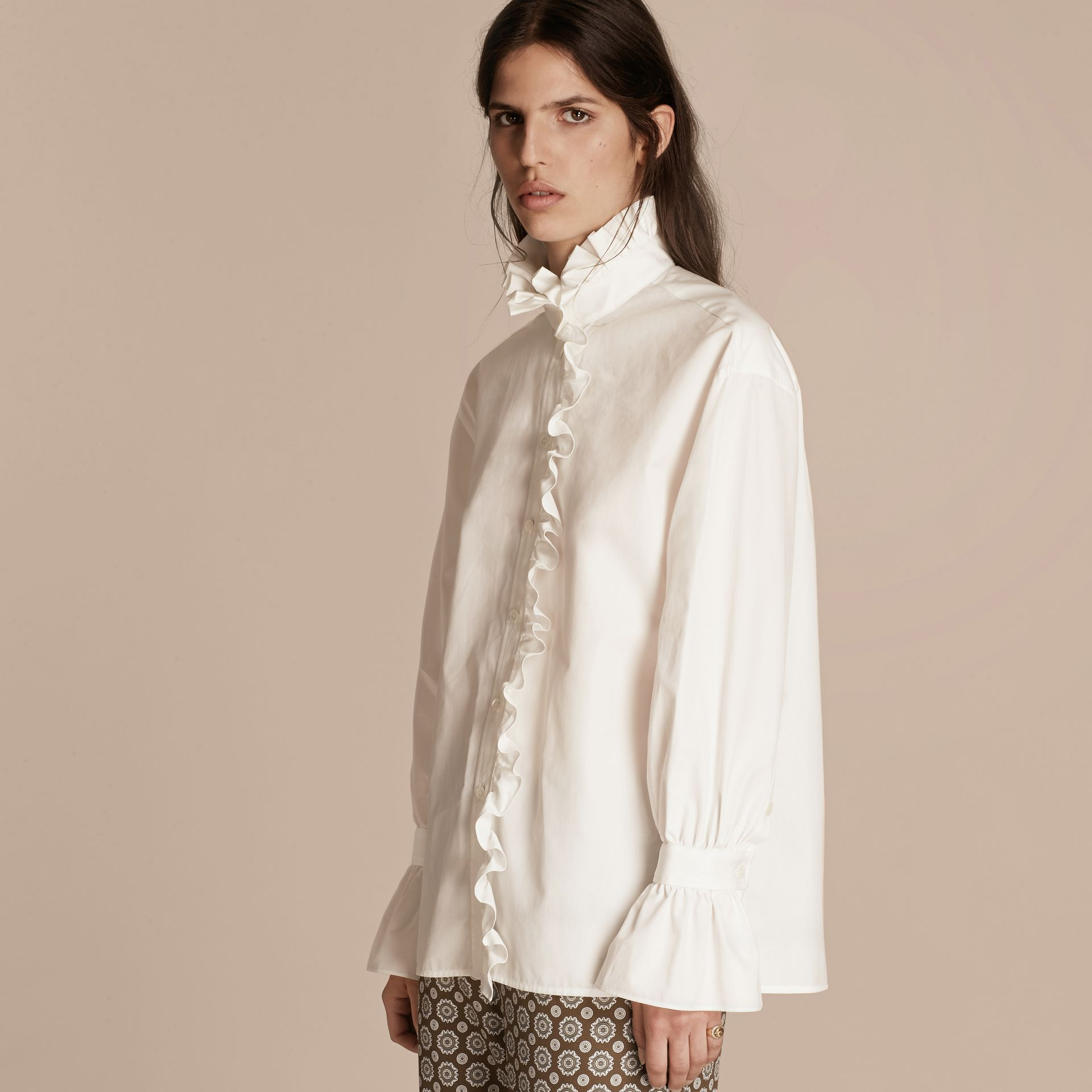 White Cotton Shirt with Ruffles - gallery image 1