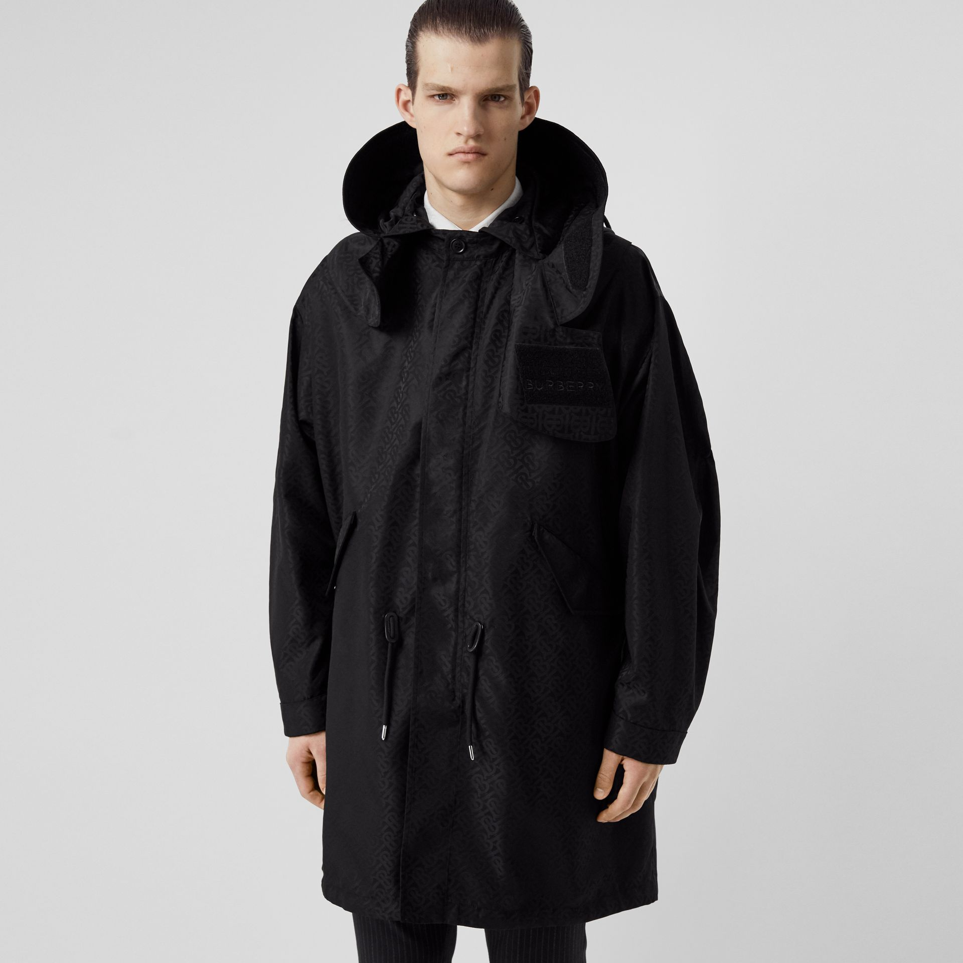 Detachable Hood Monogram ECONYL® Jacquard Parka in Black - Men | Burberry - gallery image 4