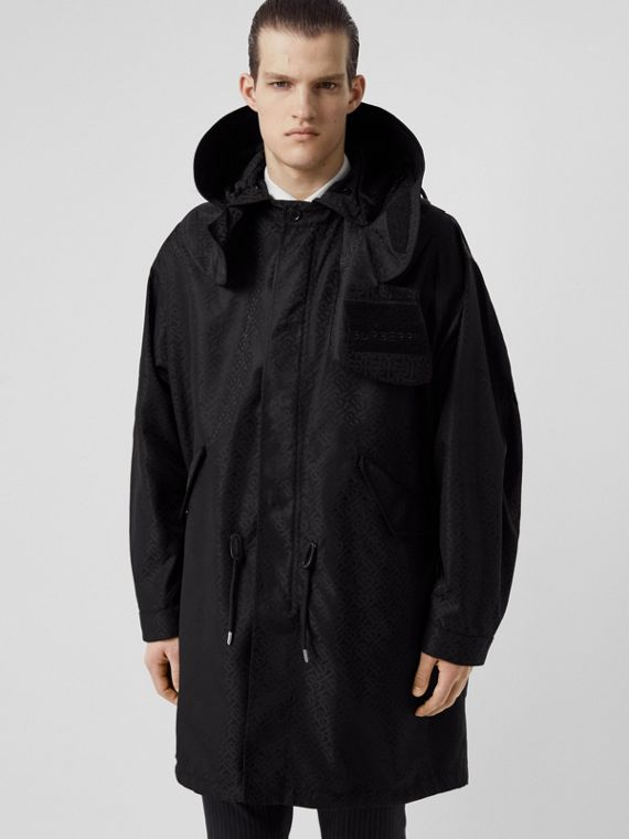 Detachable Hood Monogram ECONYL® Jacquard Parka in Black