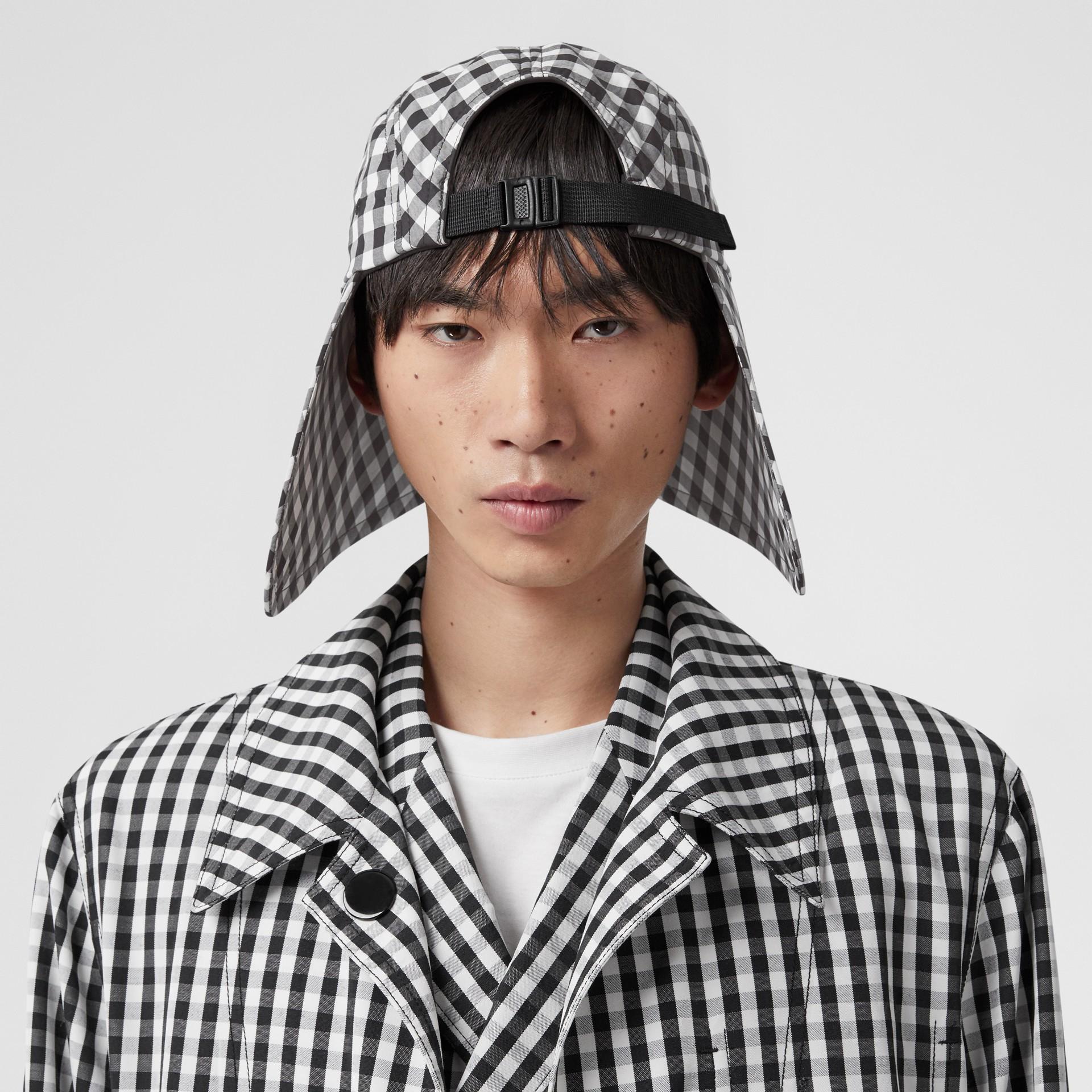 Logo Appliqué Gingham Cotton Bonnet Cap in Black/white | Burberry - gallery image 6