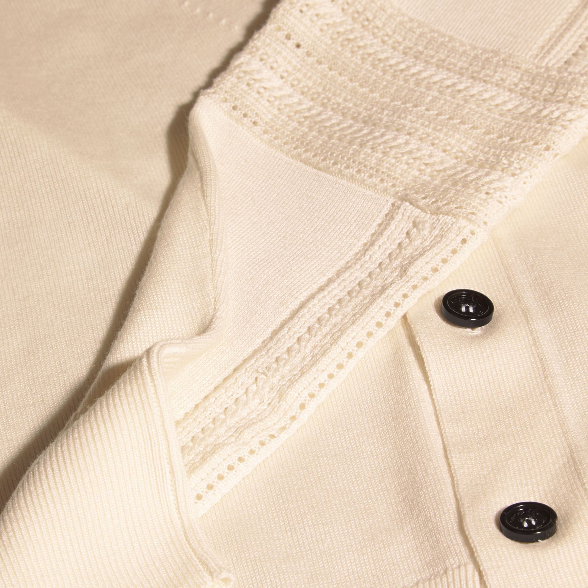 Natural white Open Stitch Detail Silk Wool Cardigan Natural White - gallery image 2