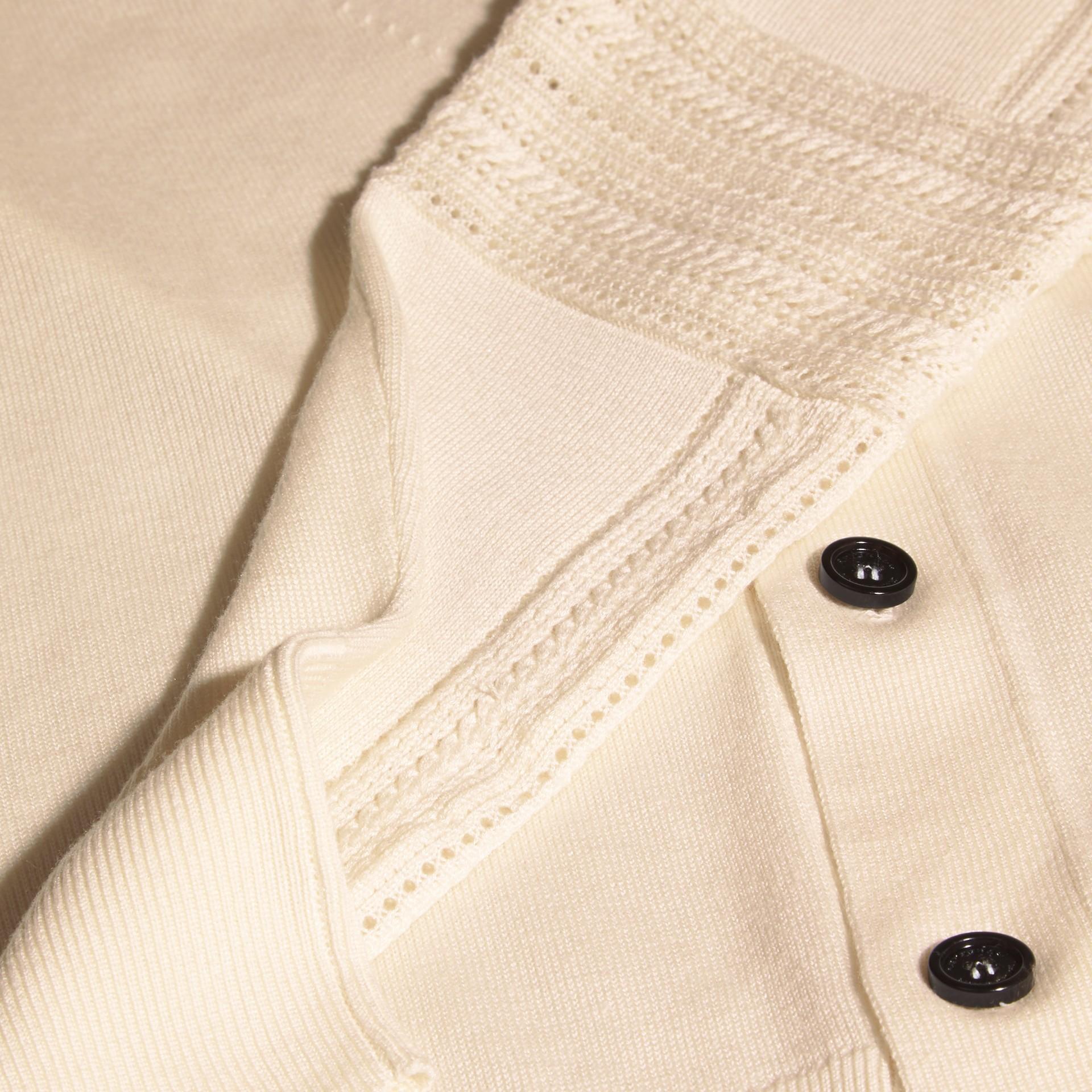 Blanc naturel Cardigan en laine et soie avec garnitures ajourées Blanc Naturel - photo de la galerie 2