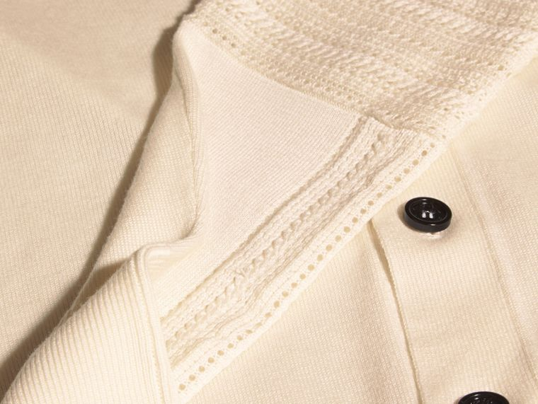 Natural white Open Stitch Detail Silk Wool Cardigan Natural White - cell image 1