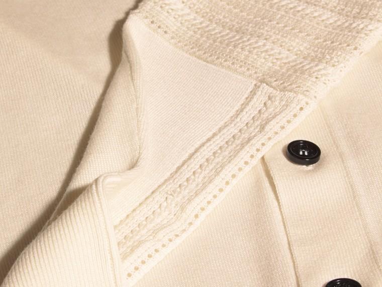 Blanc naturel Cardigan en laine et soie avec garnitures ajourées Blanc Naturel - cell image 1
