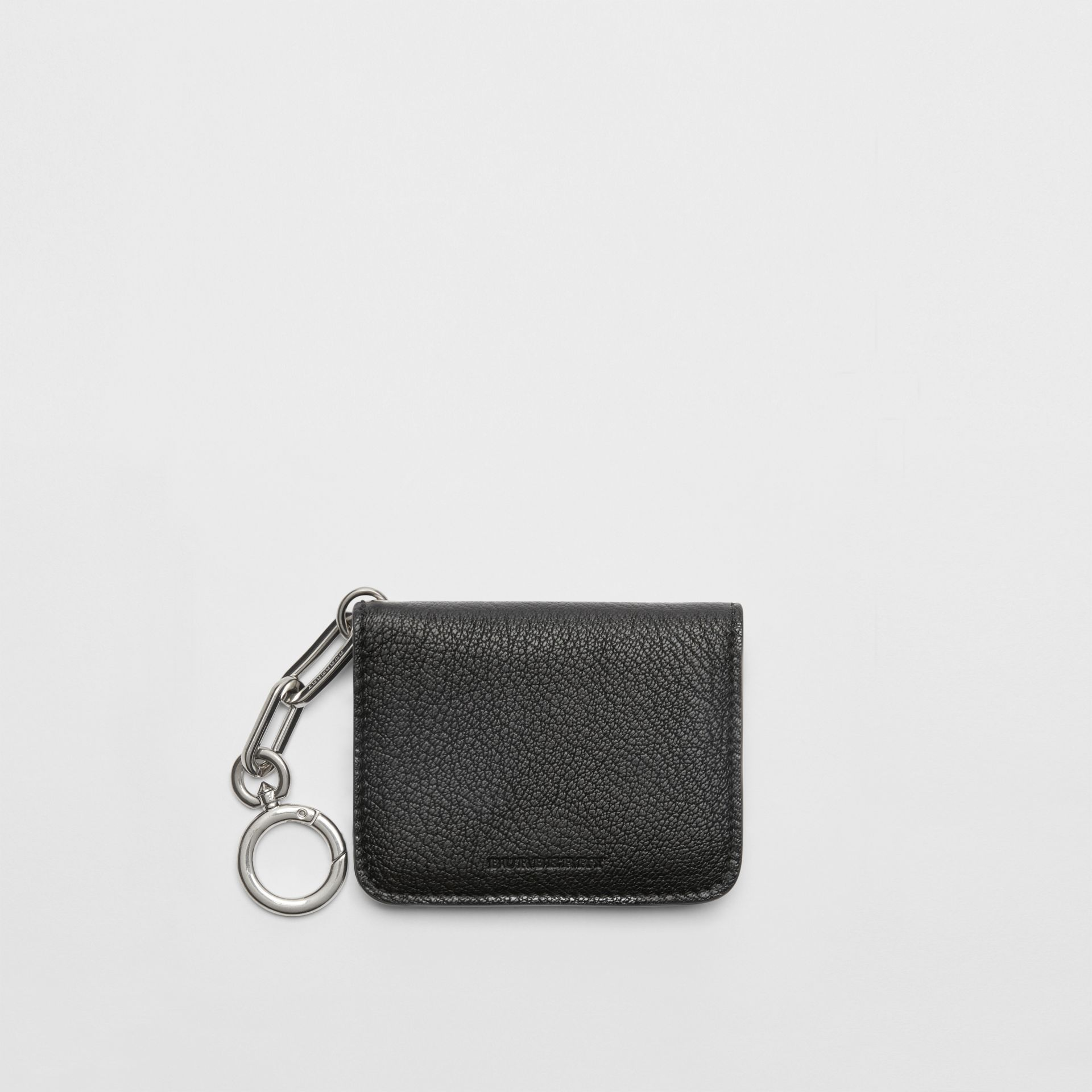 Link Detail Leather ID Card Case Charm in Black | Burberry United Kingdom - gallery image 0