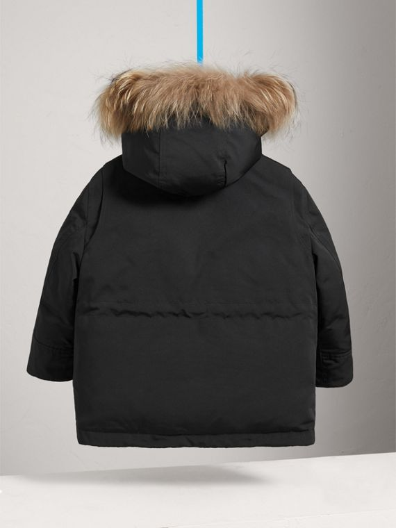 Fur-trimmed Down-filled Hooded Puffer Coat in Black - Boy | Burberry - cell image 3
