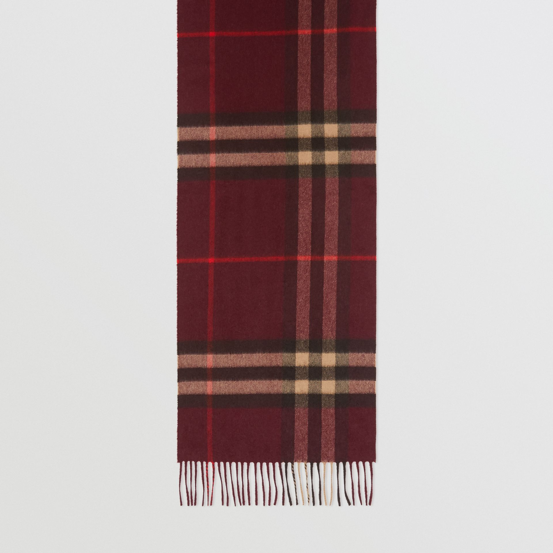 The Classic Check Cashmere Scarf in Burgundy | Burberry United Kingdom - gallery image 4