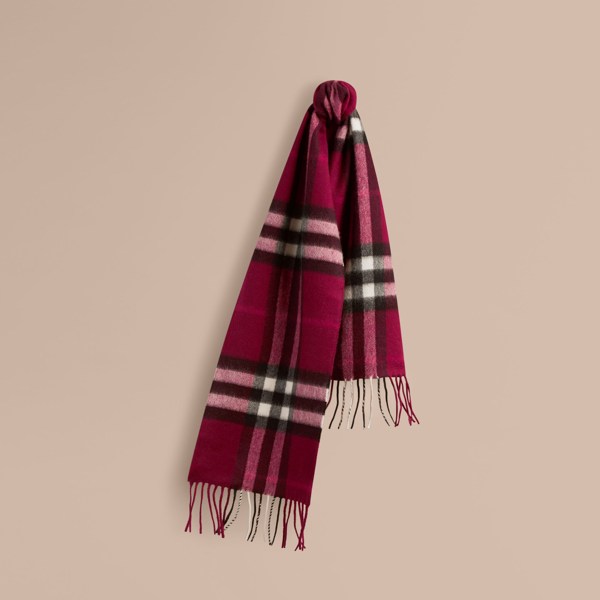 The Mini Classic Cashmere Scarf in Check in Plum | Burberry - gallery image 5