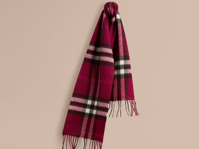 The Mini Classic Cashmere Scarf in Check in Plum | Burberry - cell image 4