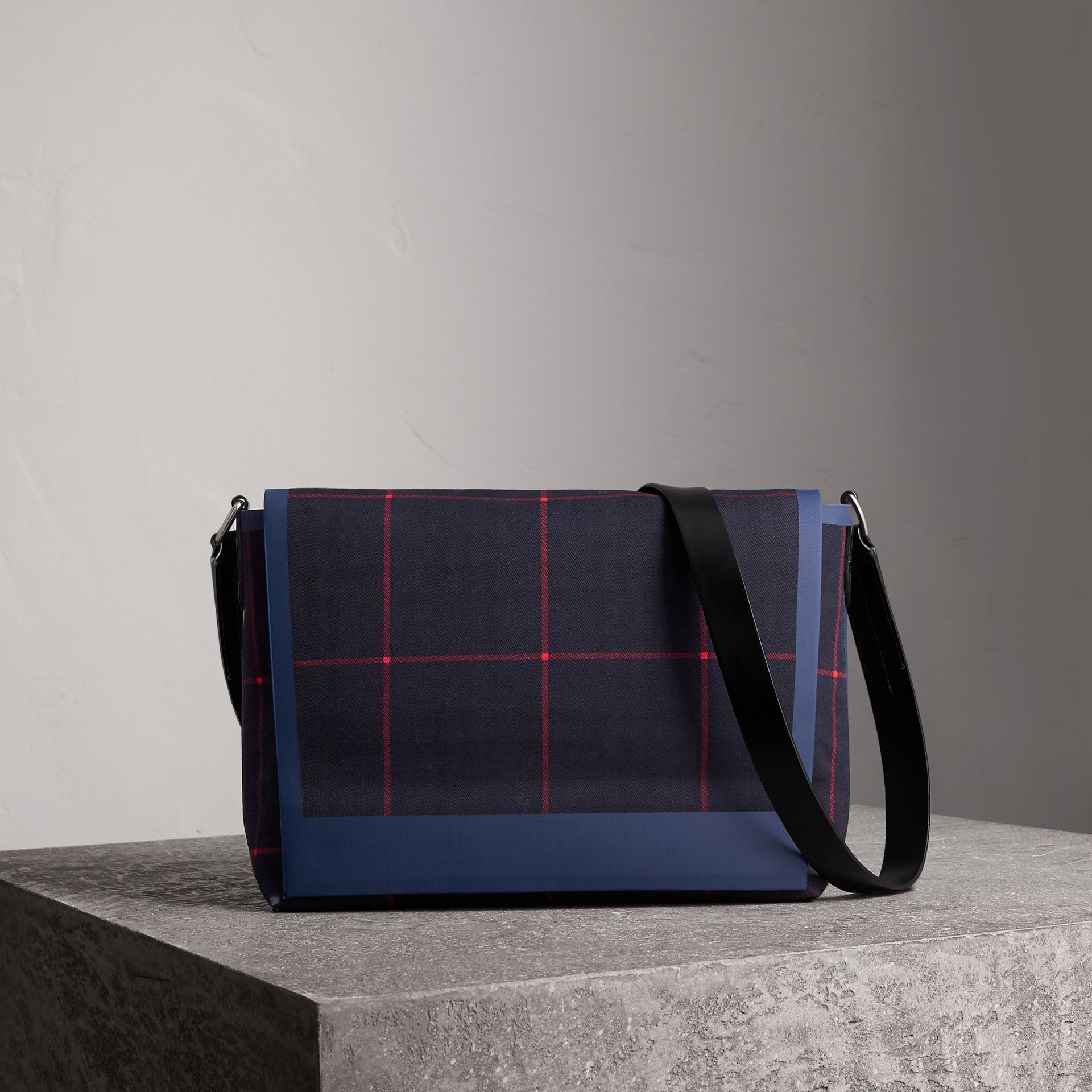 Large Tartan Cotton Messenger Bag in Deep Navy | Burberry Canada - gallery image 0