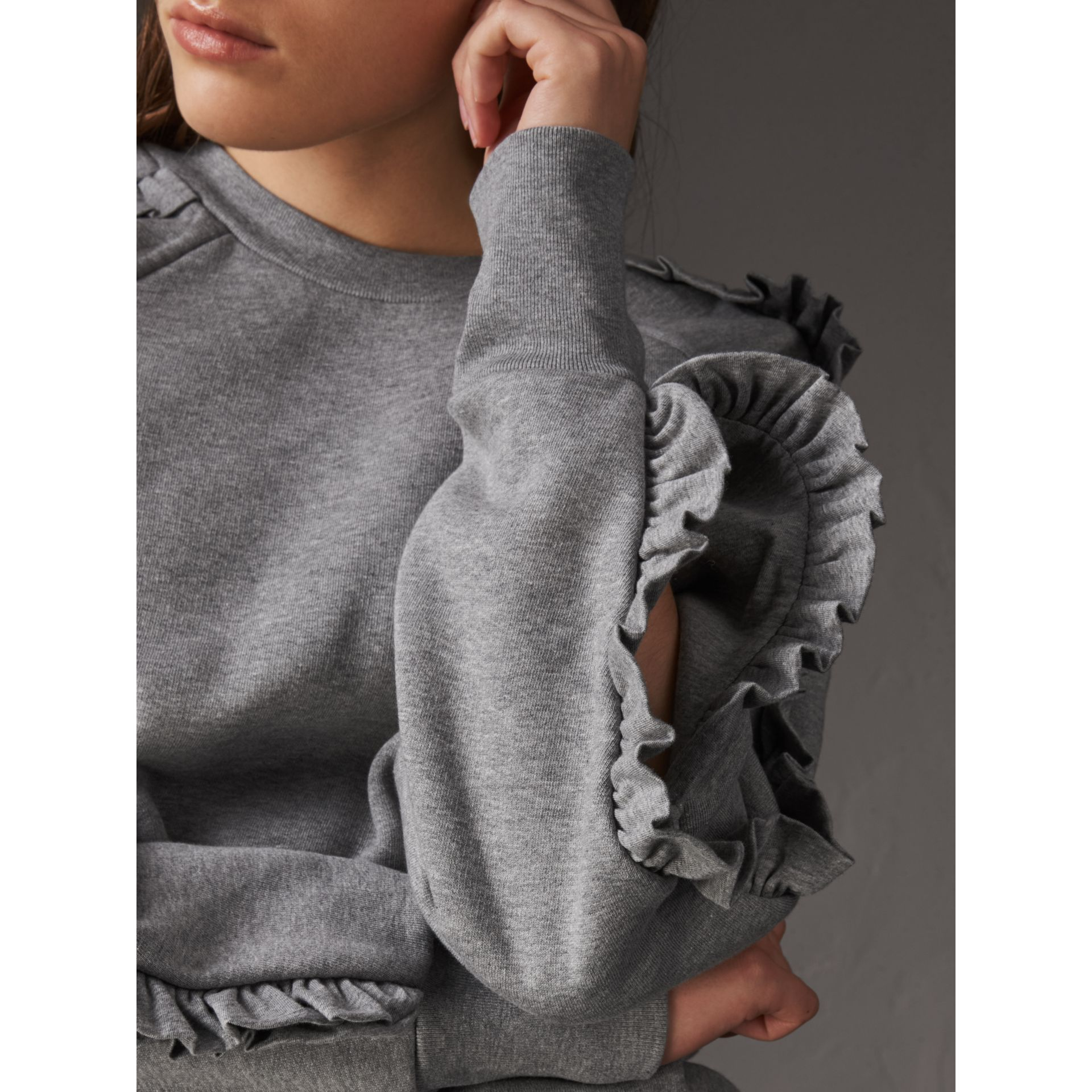 Ruffle-sleeve Sweatshirt in Pale Grey Melange - Women | Burberry - gallery image 2