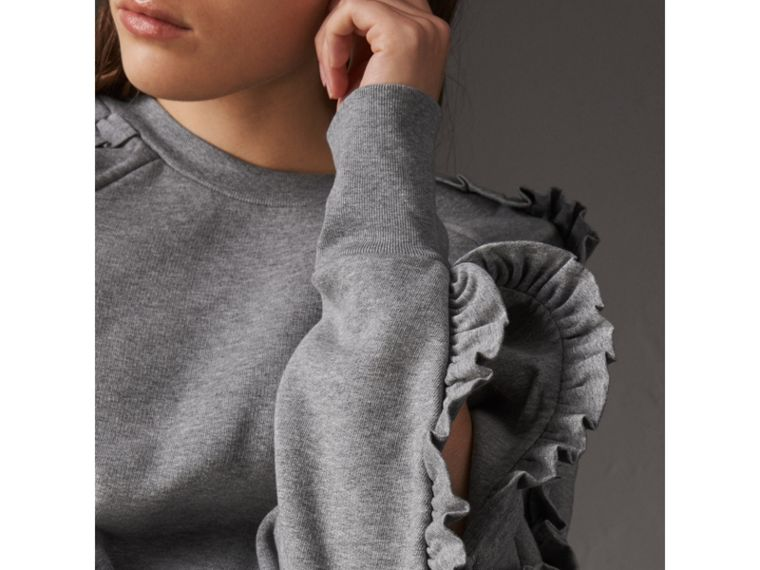 Ruffle-sleeve Sweatshirt in Pale Grey Melange - Women | Burberry - cell image 1