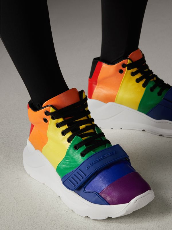 Rainbow Leather High-top Sneakers | Burberry - cell image 2