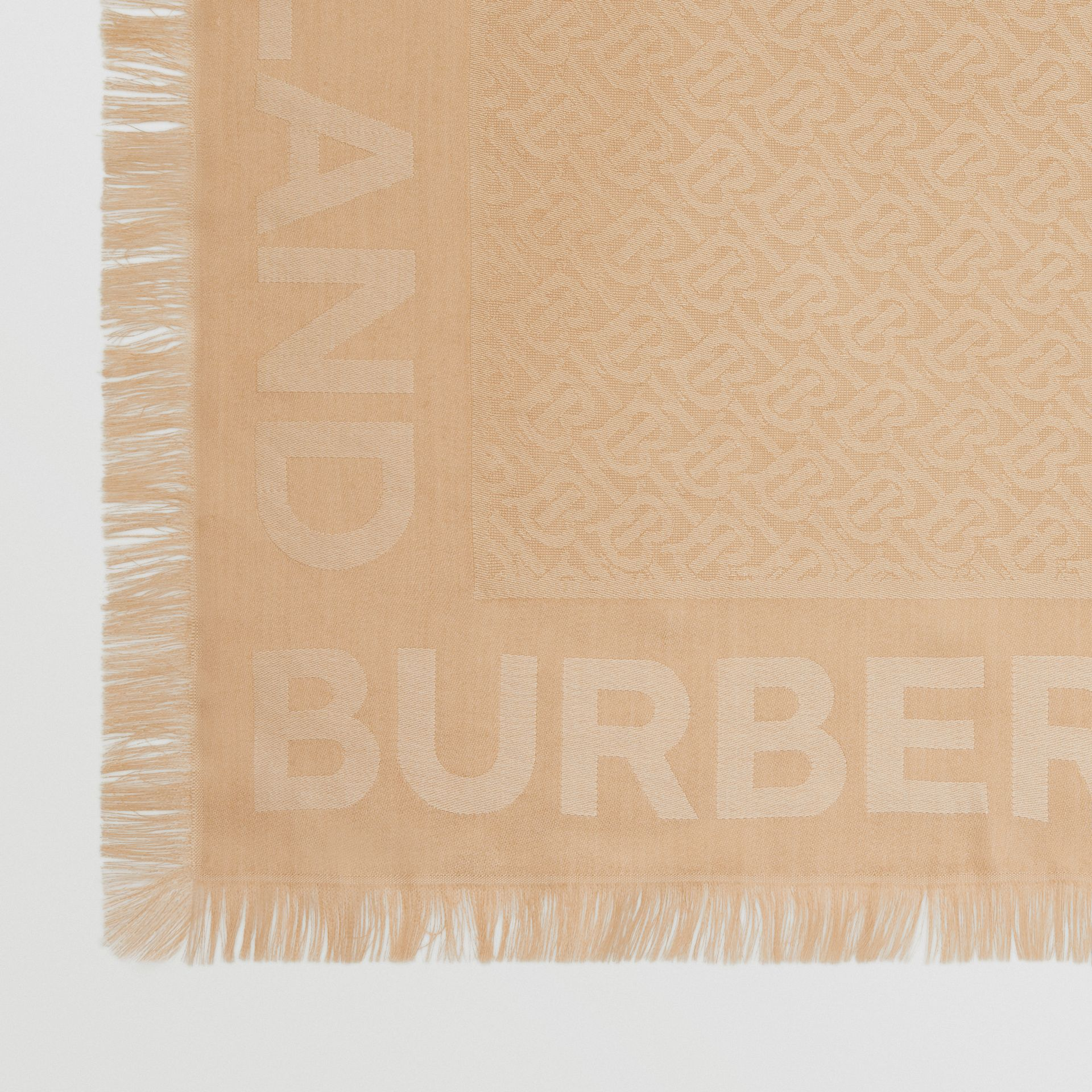 Monogram Silk Wool Jacquard Large Square Scarf in Honey | Burberry - gallery image 1