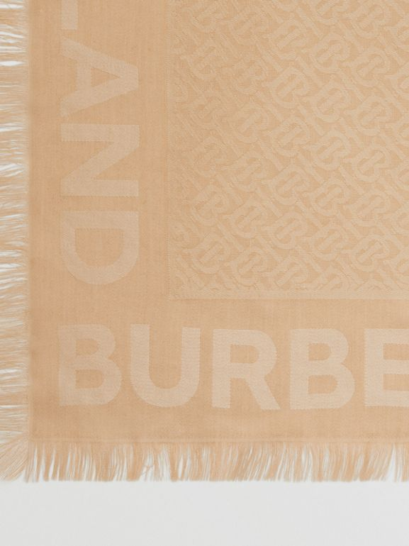 Monogram Silk Wool Jacquard Large Square Scarf in Honey | Burberry - cell image 1