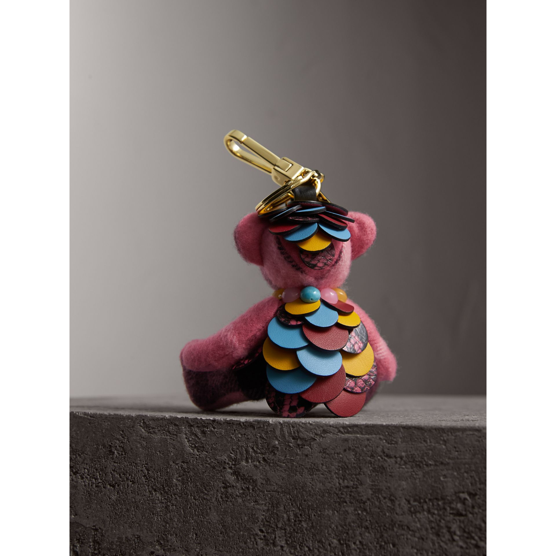 Thomas Bear Charm in Check Cashmere with Beasts Detail in Rose Pink - Women | Burberry - gallery image 3