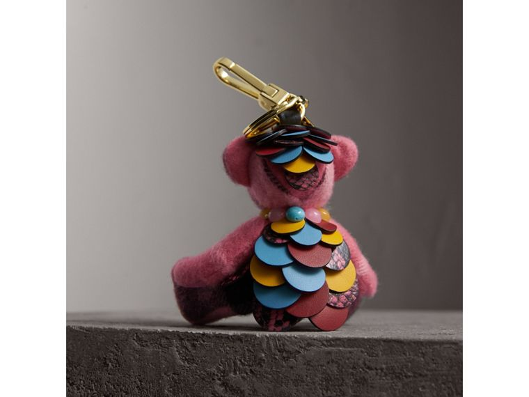 Thomas Bear Charm in Check Cashmere with Beasts Detail in Rose Pink - Women | Burberry - cell image 2
