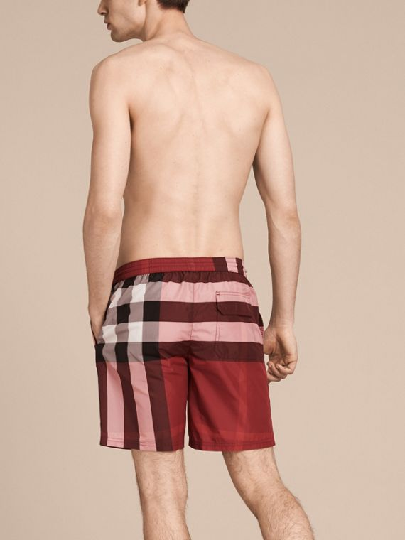 Check Swim Shorts in Parade Red - Men | Burberry United States - cell image 2