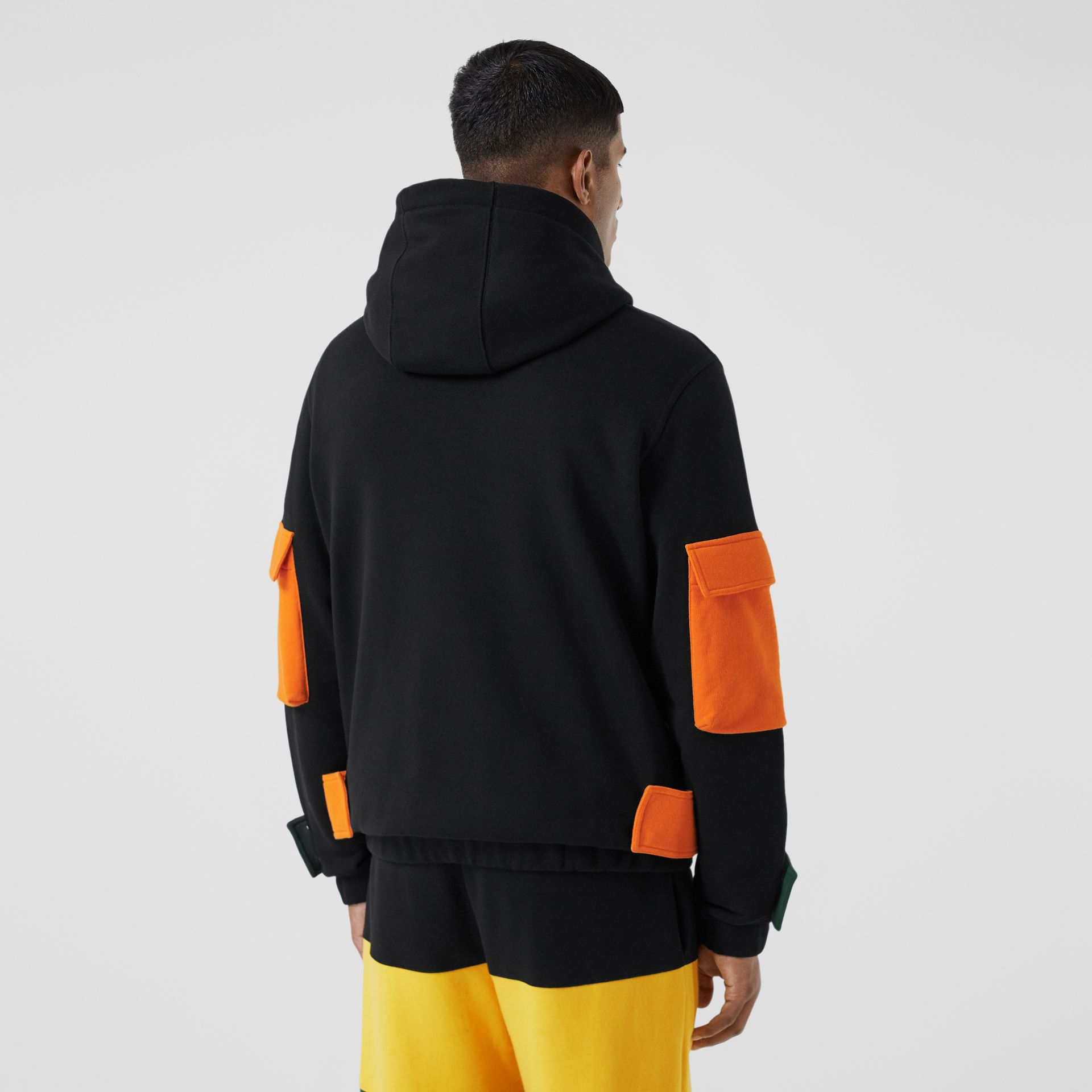Logo Print Colour Block Cotton Hoodie in Black - Men | Burberry - gallery image 2