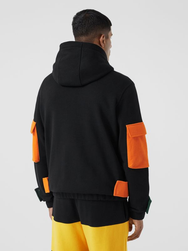 Logo Print Colour Block Cotton Hoodie in Black - Men | Burberry - cell image 2