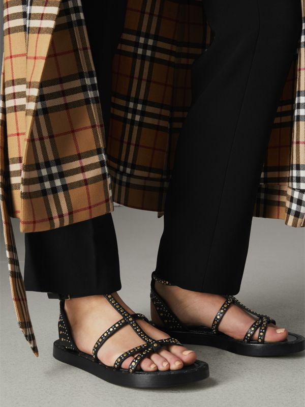 Riveted Leather Gladiator Sandals in Black - Women | Burberry United Kingdom - cell image 2