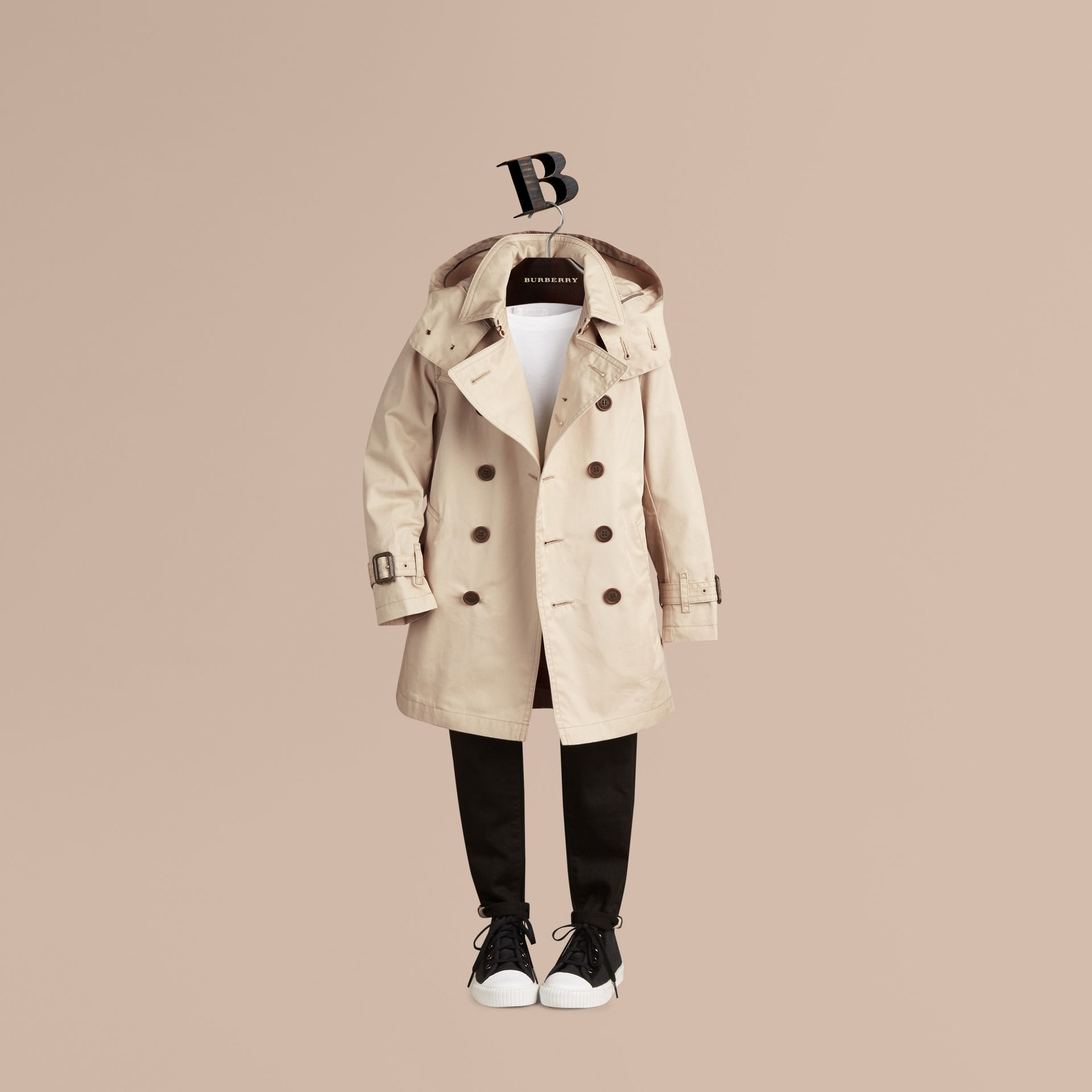 Hooded Cotton Twill Trench Coat - Boy | Burberry - gallery image 3