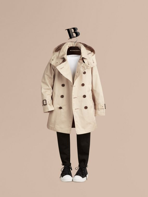 Hooded Cotton Twill Trench Coat - Boy | Burberry Australia - cell image 2