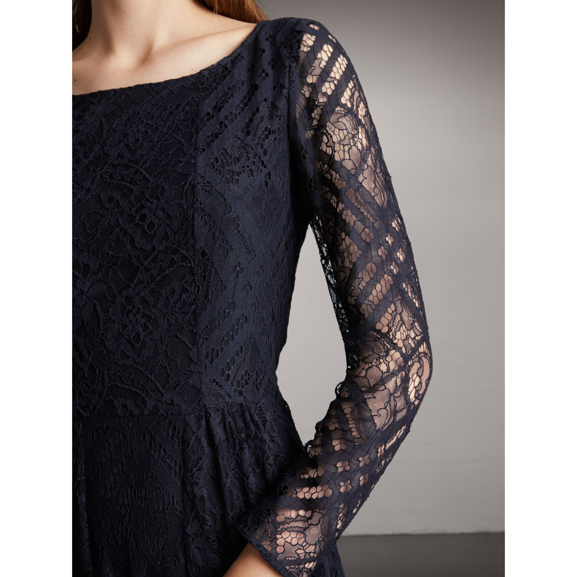 Check Lace Floor-length Dress in Navy - Women | Burberry - gallery image 2