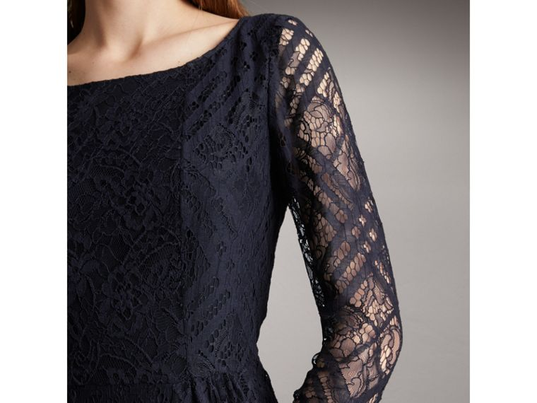 Check Lace Floor-length Dress in Navy - Women | Burberry - cell image 1