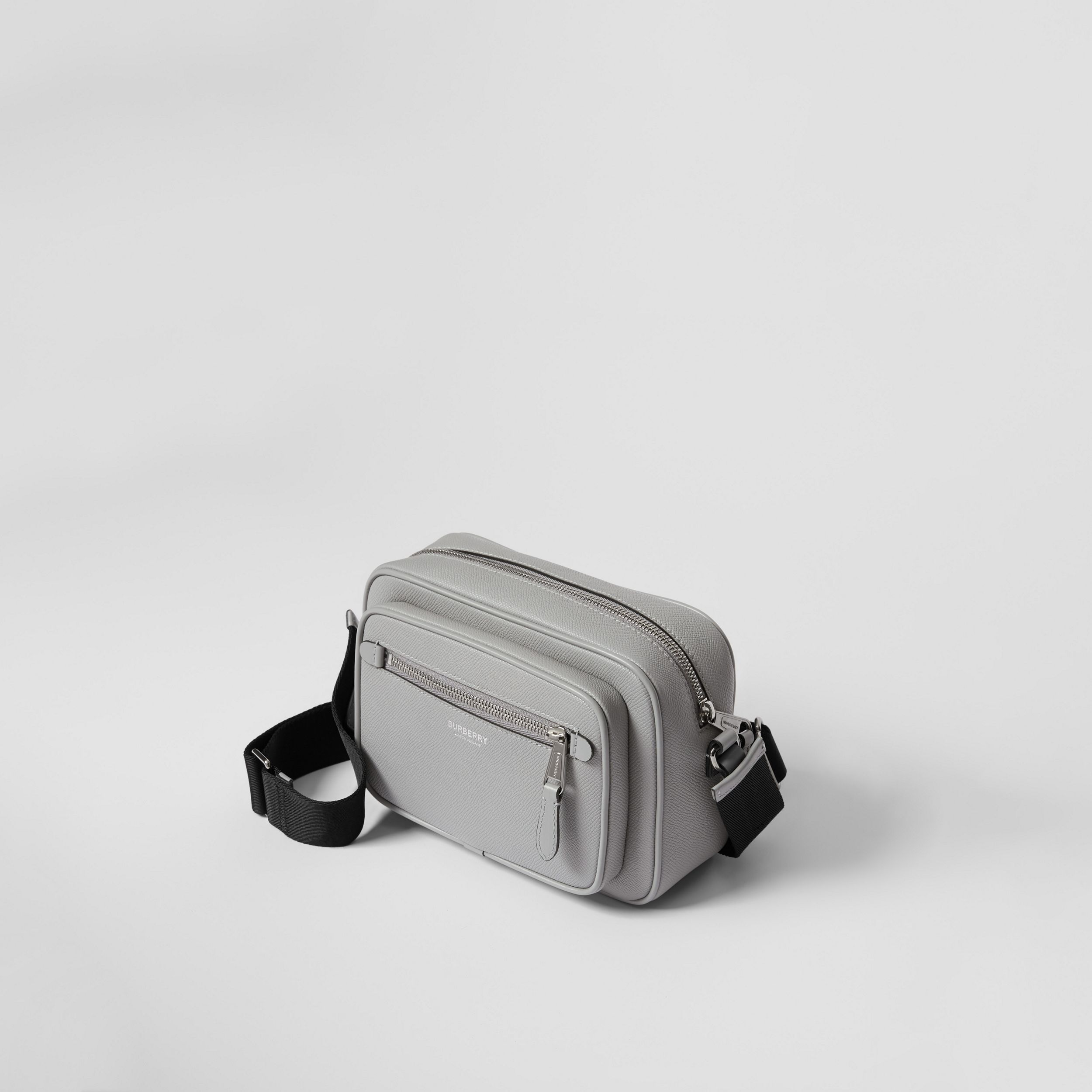 Grainy Leather Crossbody Bag in Cloud Grey - Men | Burberry Australia - 4