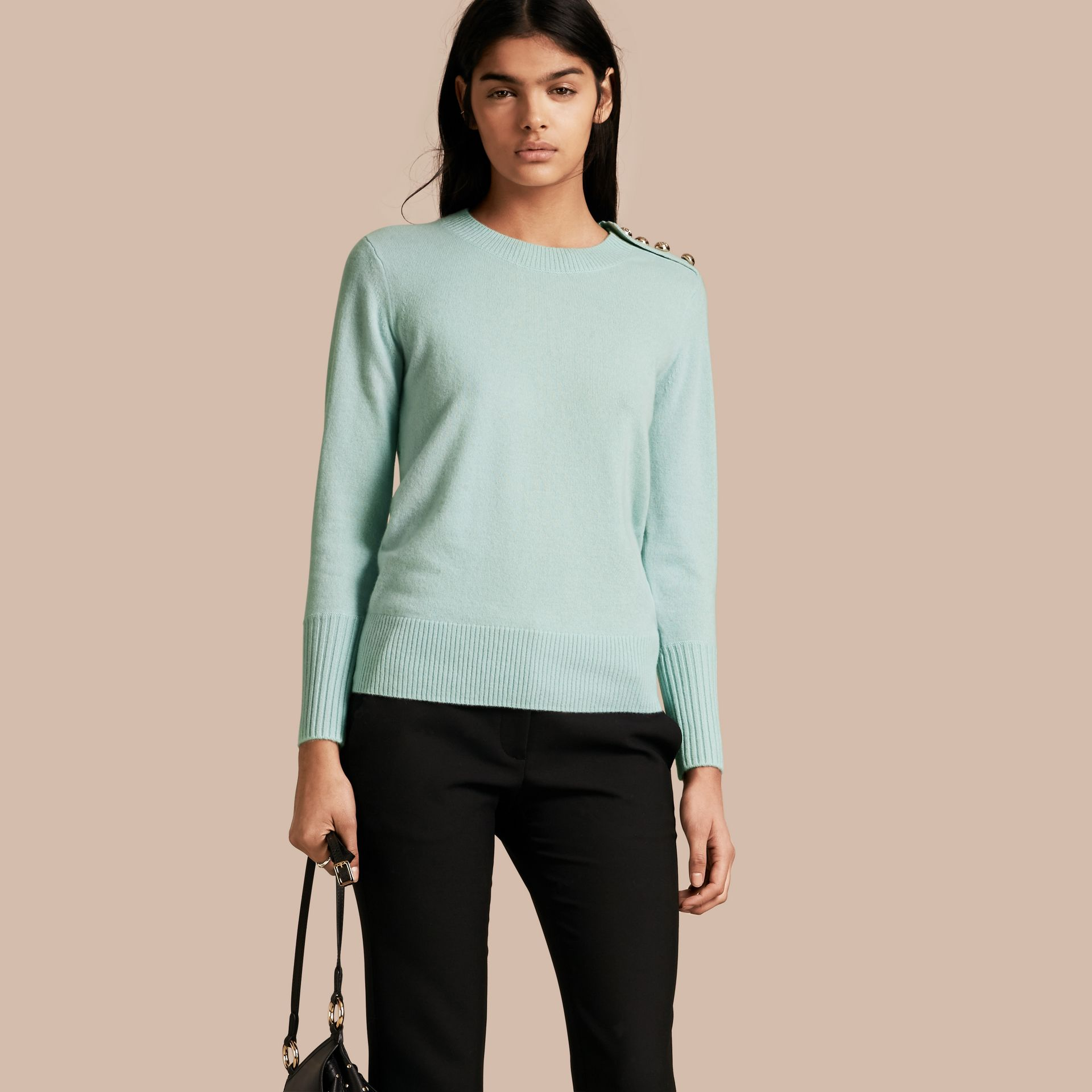 Cashmere Sweater with Crested Buttons in Slate Green - gallery image 1