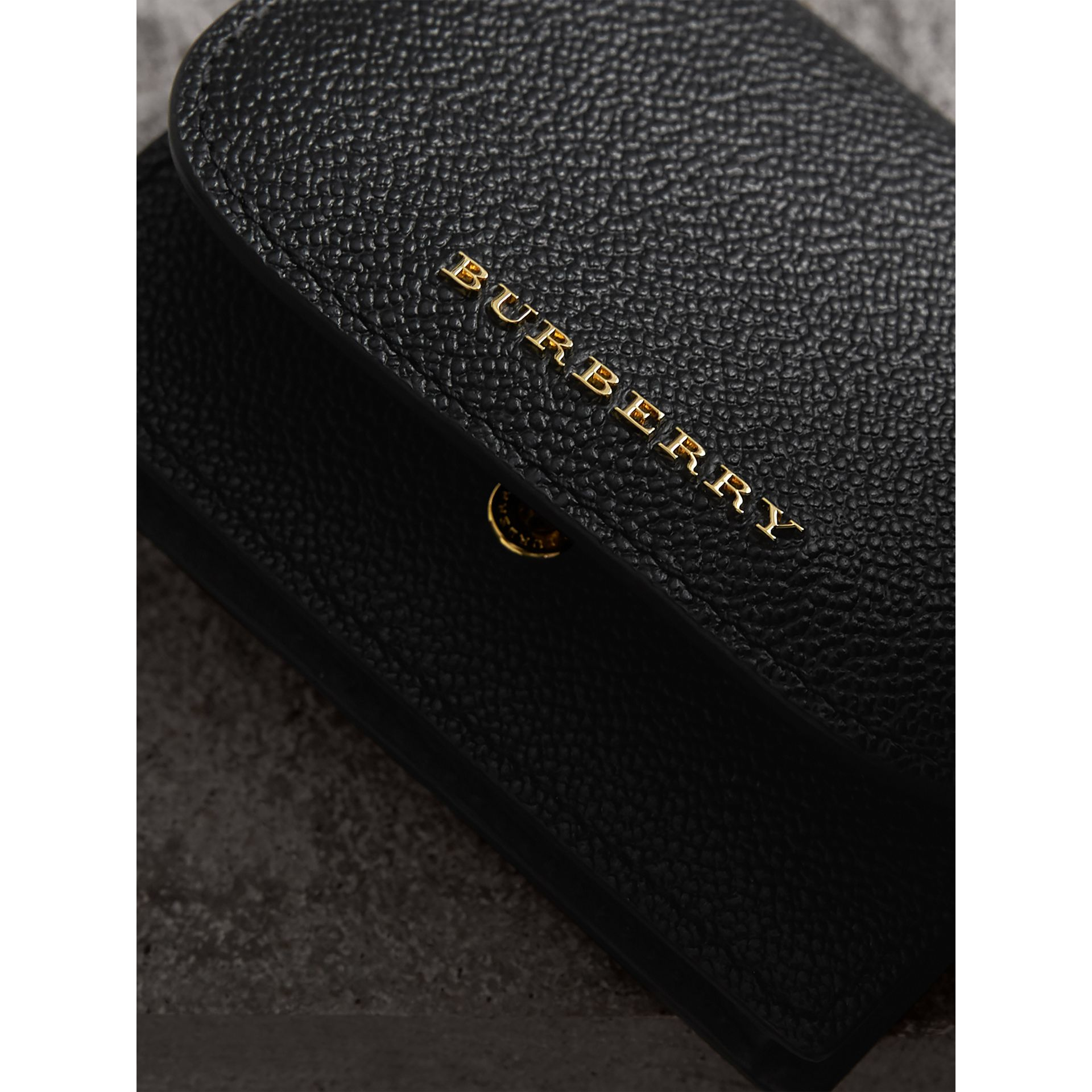 Grainy Leather Card Case in Black | Burberry - gallery image 1