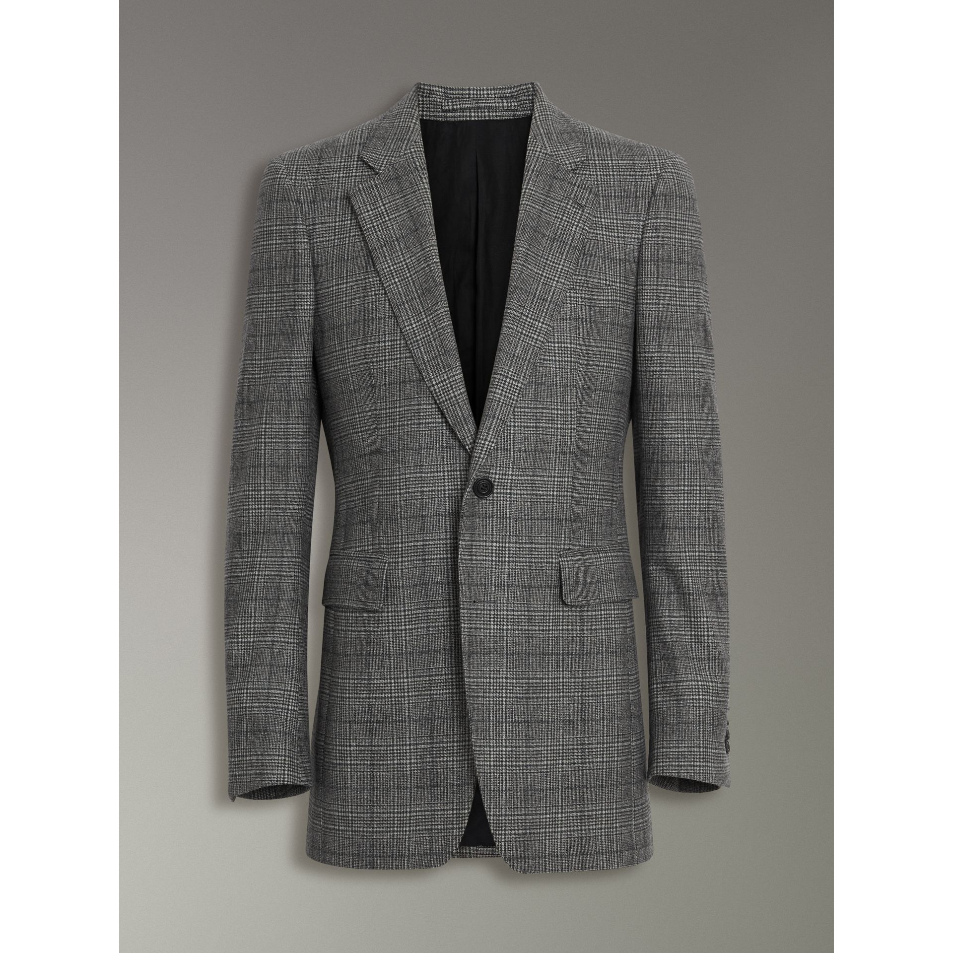Slim Fit Prince of Wales Check Wool Tailored Jacket in Mid Grey Melange - Men | Burberry Canada - gallery image 3