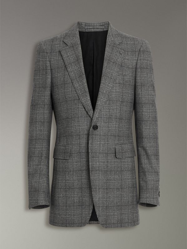 Slim Fit Prince of Wales Check Wool Tailored Jacket in Mid Grey Melange - Men | Burberry - cell image 3