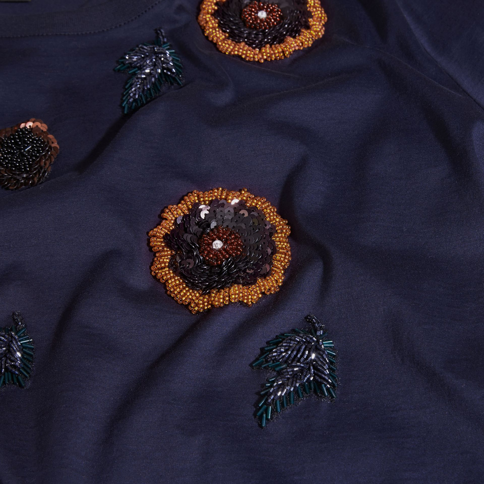 Navy Cotton T-Shirt With Hand-sewn Beads - gallery image 2