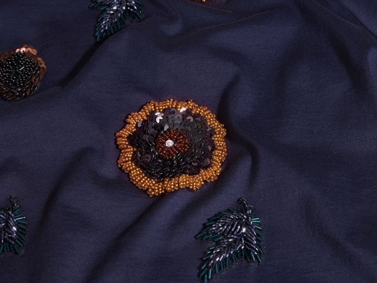 Navy Cotton T-Shirt With Hand-sewn Beads - cell image 1