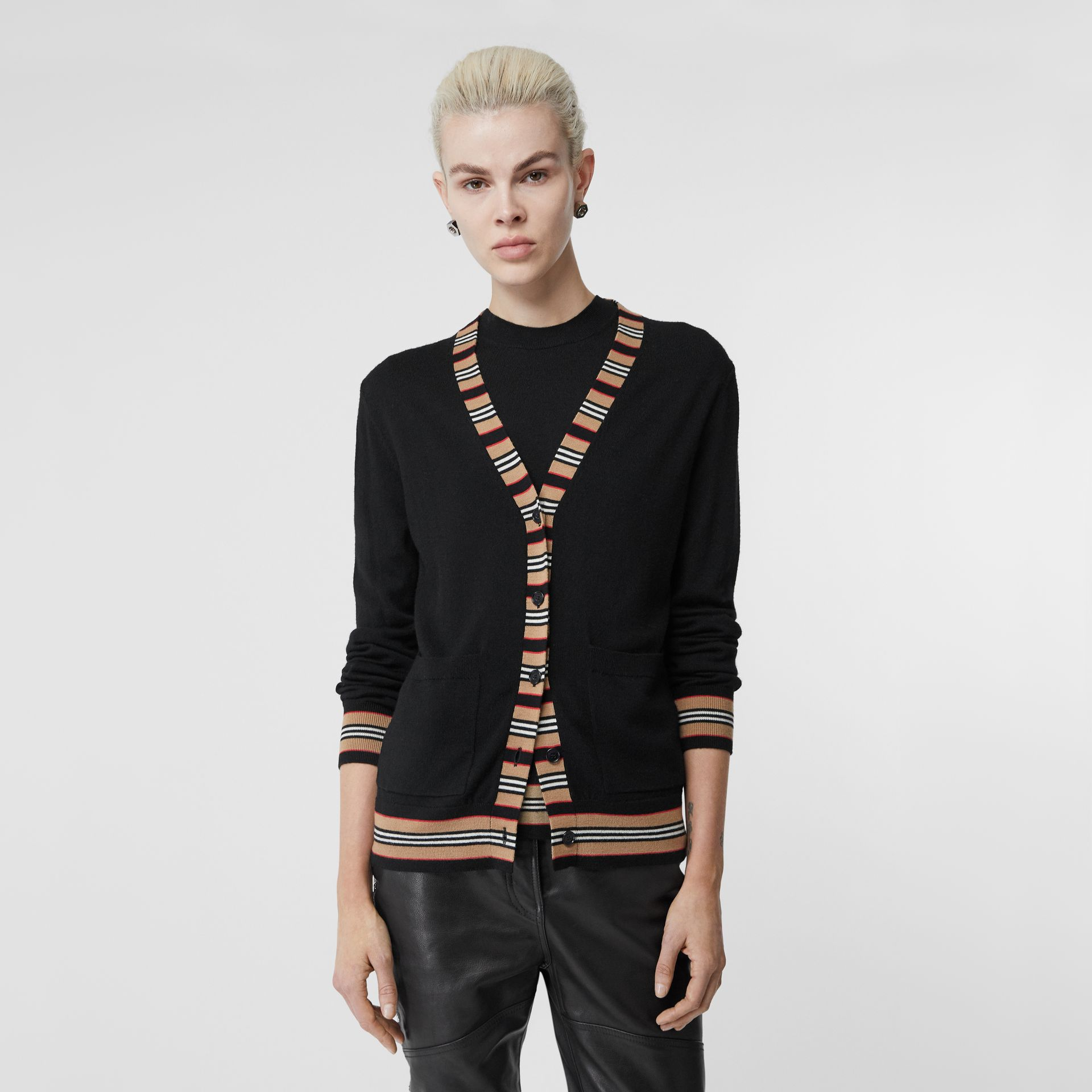 Icon Stripe Detail Merino Wool Cardigan in Black - Women | Burberry United Kingdom - gallery image 4