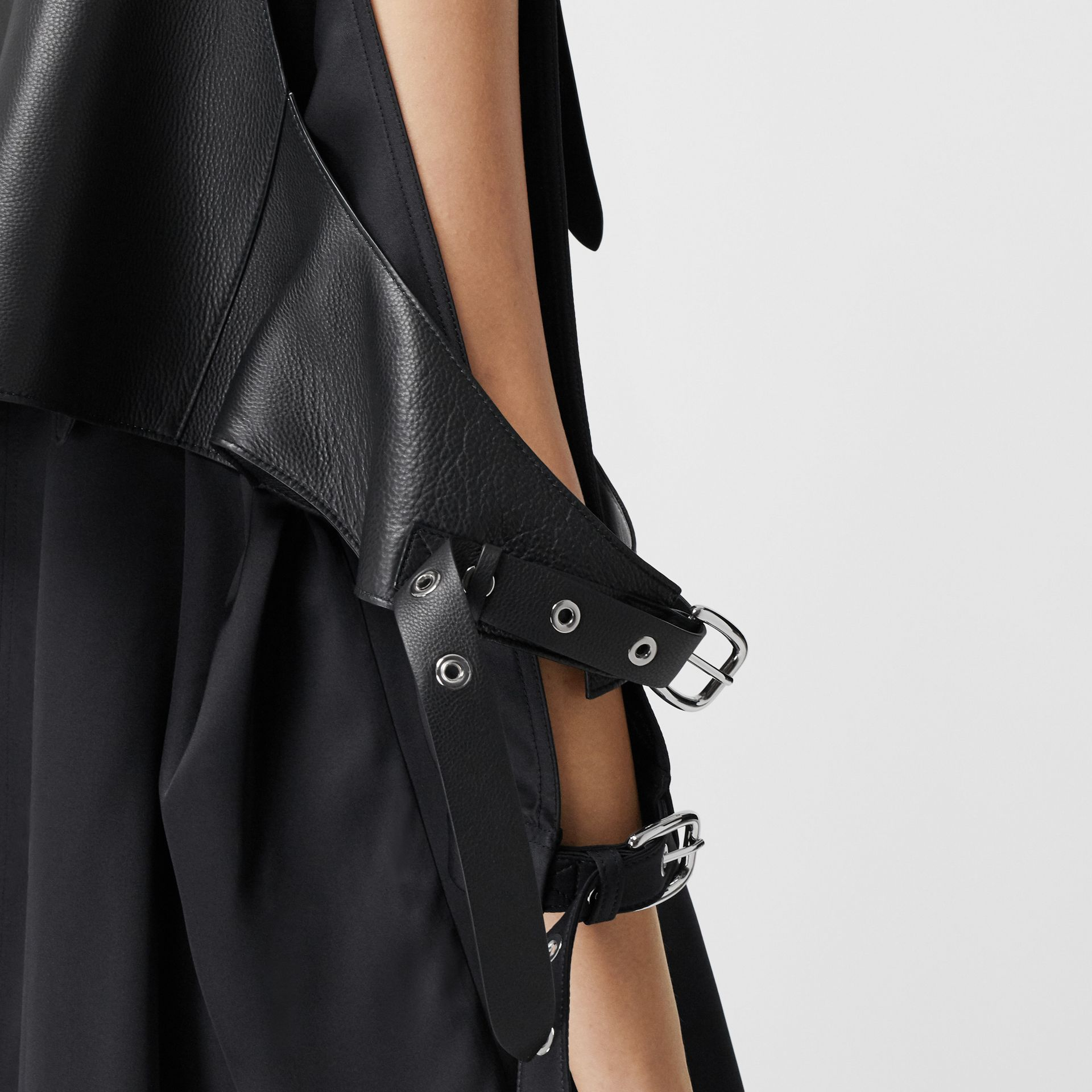 Buckle Detail Leather Waistcoat in Black - Women | Burberry United Kingdom - gallery image 4