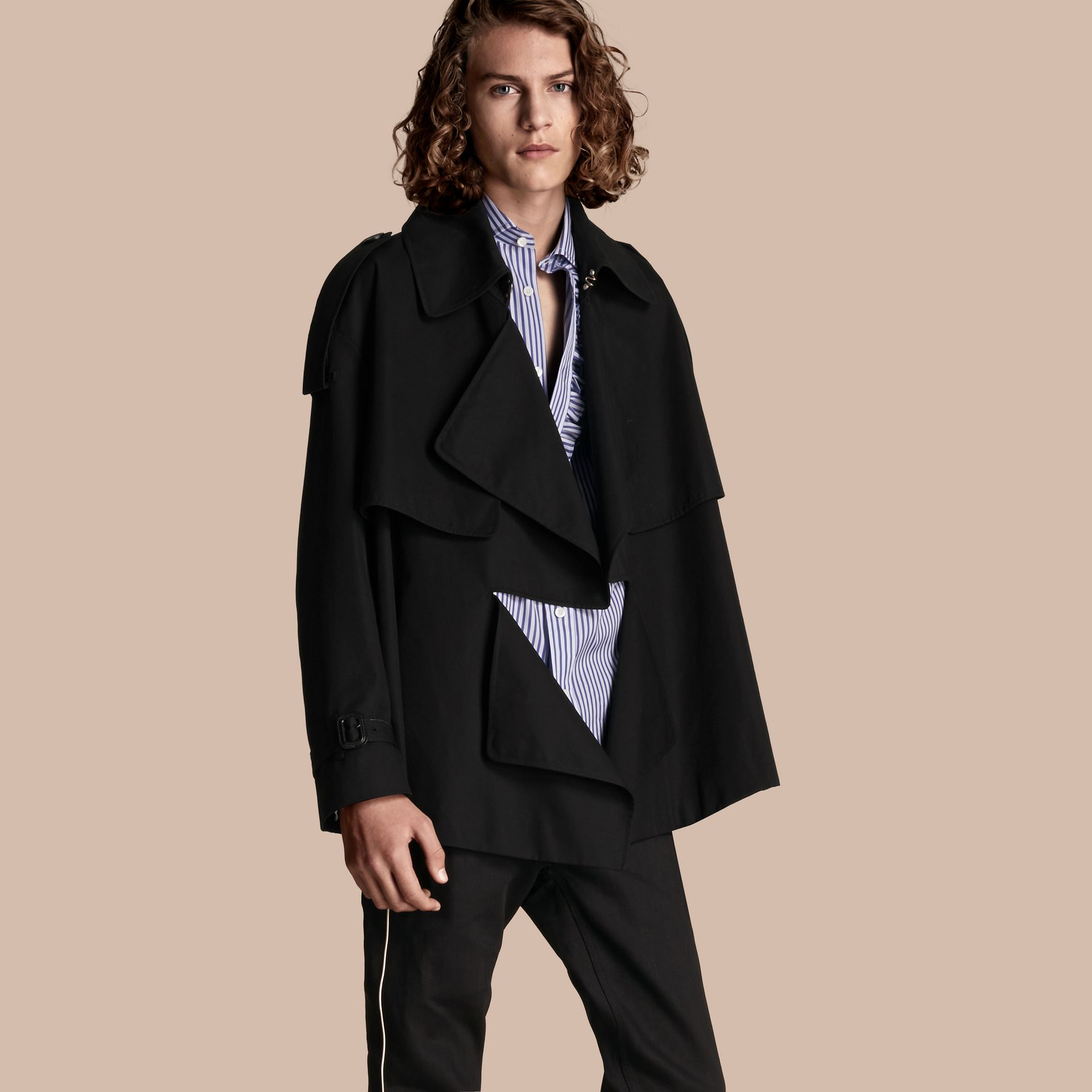 Black Cotton Gabardine Deconstructed Trench Jacket - gallery image 7
