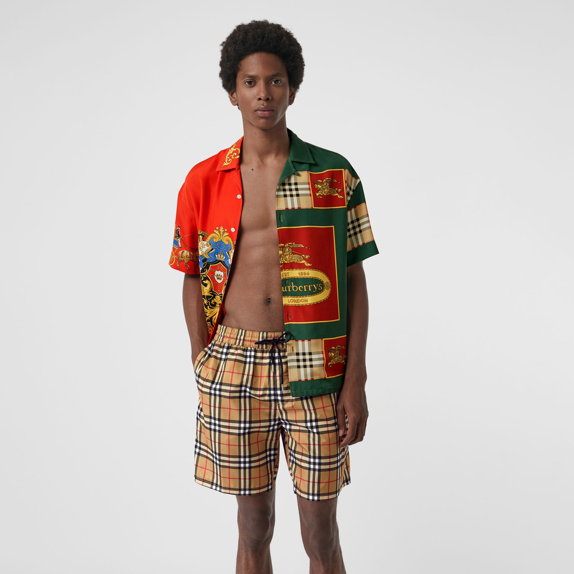 Vintage Check Drawcord Swim Shorts in Antique Yellow - Men | Burberry Hong Kong S.A.R - gallery image 0